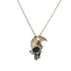 Bronze Broken Damaged Half Face Skull Necklace
